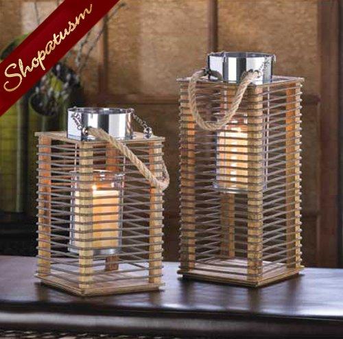 Medium hudson wedding centerpiece wood metal candle lanterns