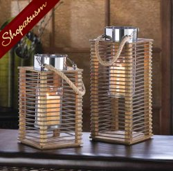 48 Medium Hudson Wedding Centerpieces Wood Metal Candle Lanterns