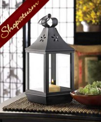 24 Black Centerpieces Colonial Carriage Style Pillar Candle Lantern