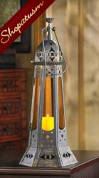 Exotic Bronze Moroccan Amber Tower Candle Lantern Centerpiece