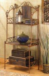 Elegant Rustic Wood and Metal Storage Baker's Rack Shelf