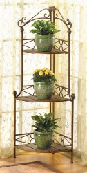 Elegant Rustic Metal and Wood Corner Baker's Rack Storage Shelves