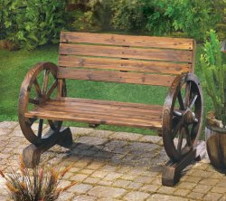 Rustic Patio Porch Lawn Wagon Wheel Wood Bench Seat