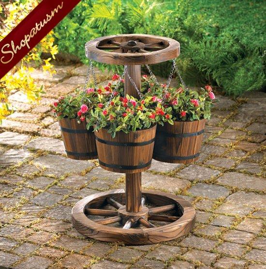 Rustic Country Charm Wood Wagon Wheel Garden Planter