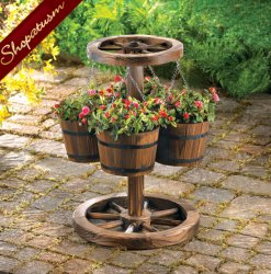 Rustic Country Charm Wood Wagon Wheel Garden Planter
