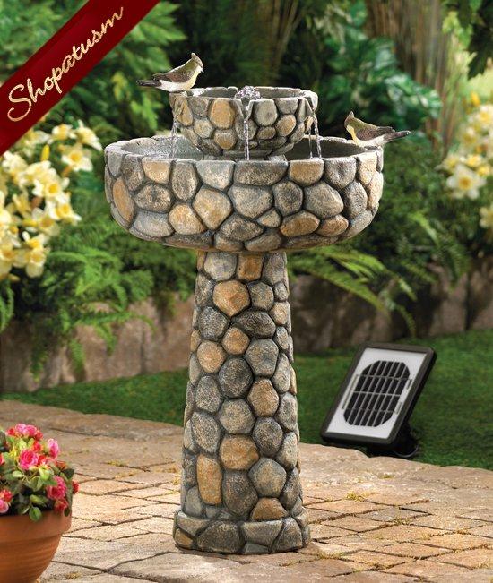 Wishing Well Fountain, Faux Cobblestone Fountain, Solar Garden Fountain