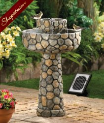 Wishing Well Fountain, Faux Cobblestone Fountain, Solar Garden Fountain