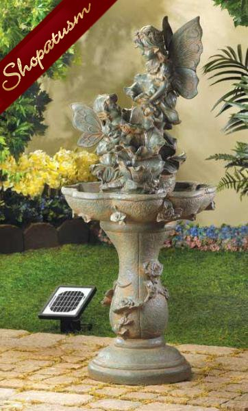 Fairy Solar Fountain, Fairy Garden Fountain Stonepowder and Sand Fountain