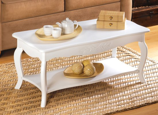 white elegant classic cottage style wood coffee table. Black Bedroom Furniture Sets. Home Design Ideas