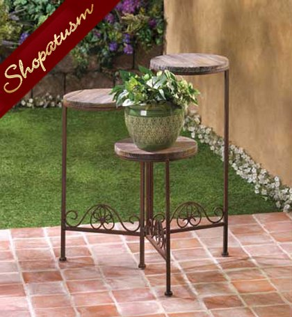 Rustic Wrought Iron and Wood Garden Triple Planter Stand