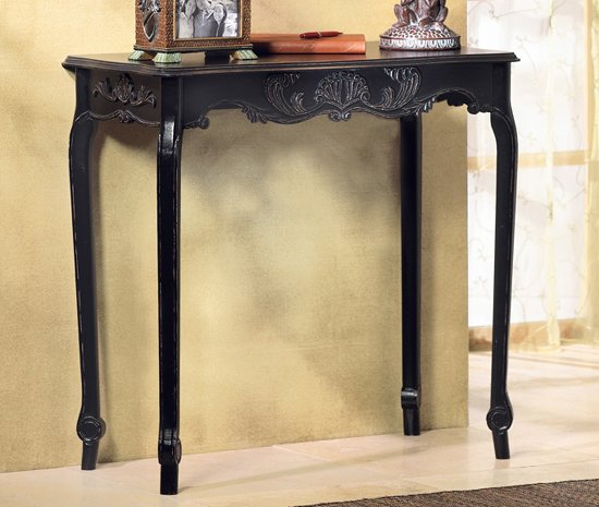 Shabby Distressed Centerpiece Scalloped Black Hall Table
