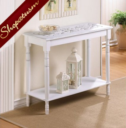 Shabby White Distressed Intricately Carved Top Hall Table