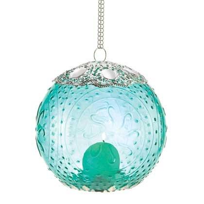 20 Aquamarine Silver Round Globe Hanging Candle Lanterns w Chain