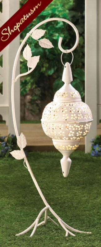 20 White Wholesale Lacy Hanging Moroccan Floor Lanterns with Stands