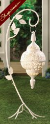 10 Wholesale White Lacy Hanging Moroccan Floor Lantern with Stand