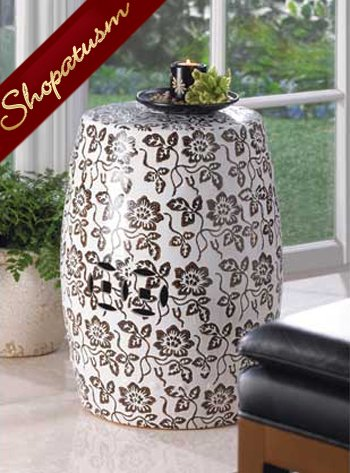 Floral Pattern Table Decorative Ceramic Stool Plant Stand