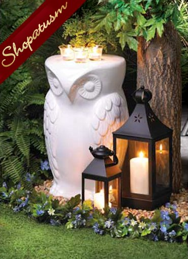 White Ceramic Owl Stool Side Table Indoor Outdoor Plant Stand