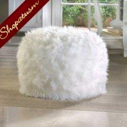 Decorative Fuzzy White Ottoman Pouf