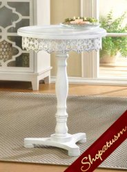 Shabby White Distressed Chic Flourish Round Pedestal Table