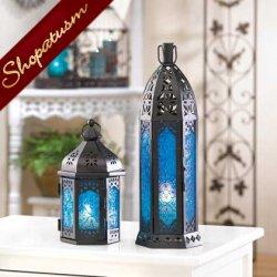 12 Wholesale Lanterns, Blue Glass, Moroccan Lanterns, Rosette Lantern, Bulk Lot