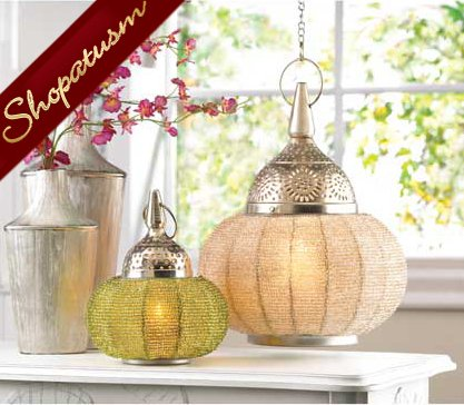 20 Hanging Candle Lanterns Green Beaded Decorative Lamps