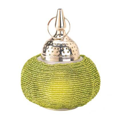 Image 1 of 20 Hanging Candle Lanterns Green Beaded Decorative Lamps