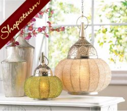 10 Green Beaded Decorative Lamps Hanging Candle Lanterns