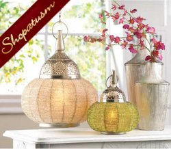 Decorative Candle Lamp Silver Beaded Hanging Lantern