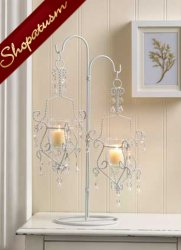 10 Centerpieces Elegant White Crystal Drop Candelabra Candle Holders