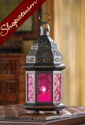 12 Fuchsia Candle Lanterns Exotic Pink Moroccan Centerpieces Bulk Lot