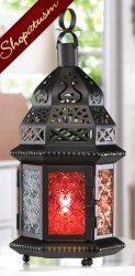 10 Candle Lanterns Blazing Rainbow Centerpieces Black Moroccan