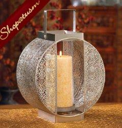 Dynasty Silver Wedding Centerpiece Pillar Candle Lantern