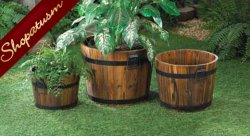 Rustic Country Charm Apple Barrel Wood Fir Planters Set of 3