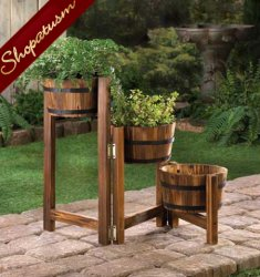 Country Charm Apple Barrel Wood Garden Planter Ladder