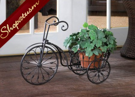 Black Metal Old Fashioned Bicycle Garden Plant Stand