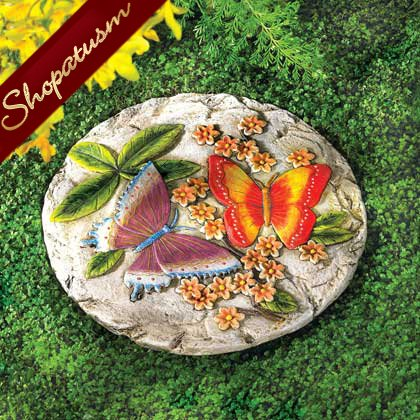 Bas Relief Butterfly Stepping Stone Cement Garden Stone