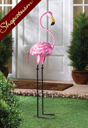 Tropical Tango Pink Flamingo Garden Statue Metal Sculpture