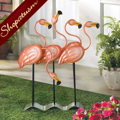 Tropical Flamingos Garden Decor Metal Art Sculpture