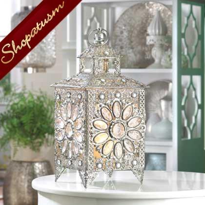 Ornate Silver Crown Jewels Wedding Centerpiece Candle Lantern