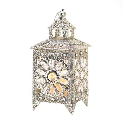 Image 1 of Ornate Silver Crown Jewels Wedding Centerpiece Candle Lantern