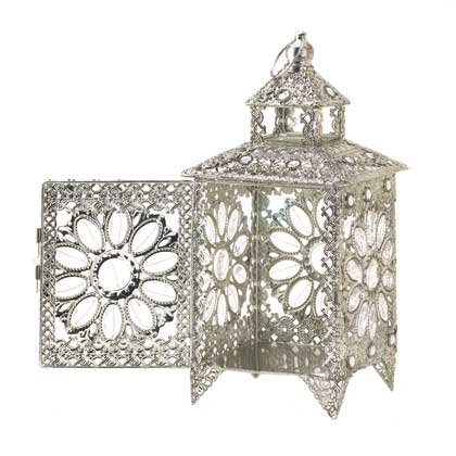Image 2 of Ornate Silver Crown Jewels Wedding Centerpiece Candle Lantern