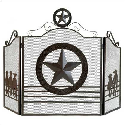 Image 1 of Rustic Texas Lone Star Folk Art Metal Fireplace Screen Gate