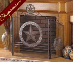 Rustic Texas Lone Star Folk Art Metal Fireplace Screen Gate