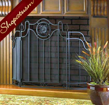Tuscan Design Black Folding Fireplace Screen with Iron Accents