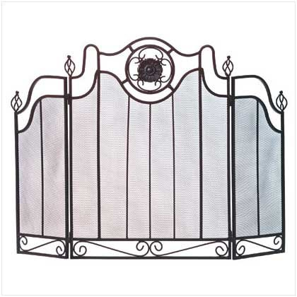 Image 1 of Tuscan Design Black Folding Fireplace Screen with Iron Accents
