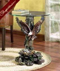 Dramatic Eagle Side End Accent Decorative Glass Table