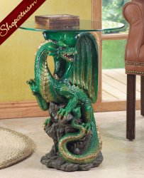 Dramatic Decorative Dragon Statue Hall Table With Glass Top Mystical