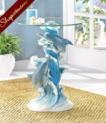 Dramatic Playful Dolphins Statue End Hall Accent Glass Table