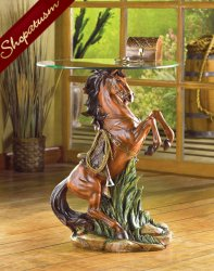 Dramatic Majestic Stallion Statue End Hall Accent Glass Table