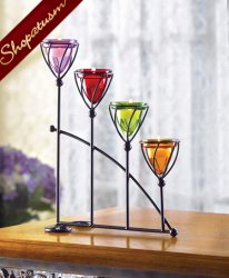 Candelabra Amber Amethyst Emerald Ruby Jewel Toned Candle Holder